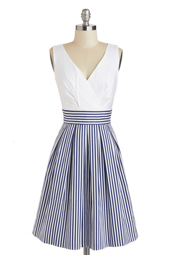 Oceanfront Properly Dress - Cotton, Blue, Stripes, Exposed zipper, Pleats, A-line, Tank top (2 thick straps), V Neck, Pockets, Daytime Party, Nautical, White