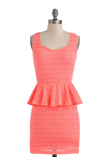 For Maze on End Dress - Short, Coral, Solid, Party, Tank top (2 thick straps), Sweetheart, Girls Night Out, Vintage Inspired, 80s, Neon, Bodycon / Bandage, Peplum, Summer