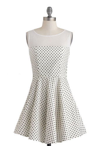 Lindy Dot Dress - Cotton, Sheer, White, Black, Polka Dots, Party, A-line, Sleeveless, Scoop, Short, Summer
