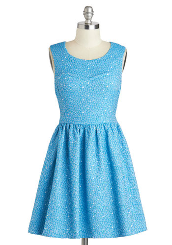 Pebble Yell Dress - Short, Blue, White, Print, Party, Fit & Flare, Sleeveless, Scoop
