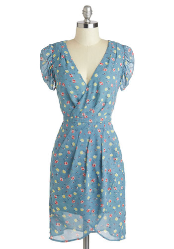 From There to Cheer Dress - Mid-length, Blue, Multi, Floral, Sheath / Shift, Short Sleeves, V Neck, Pleats, Daytime Party