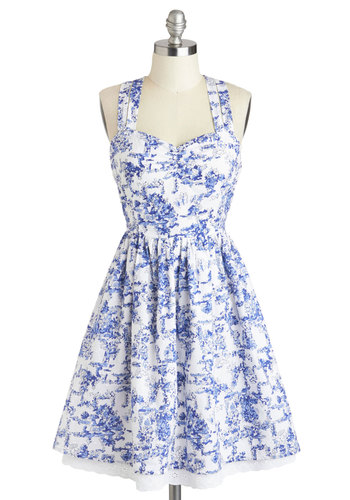 Give It Your Toile Dress by Louche - Mid-length, Cotton, Blue, Floral, Casual, Fit & Flare, Racerback, Sweetheart, Daytime Party, Spring, White, Woven