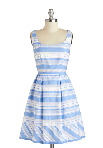 True Blue Sky Dress - Mid-length, Blue, Grey, White, Stripes, Exposed zipper, Pleats, Fit & Flare, Tank top (2 thick straps), Scoop, Daytime Party, Graduation, Spring