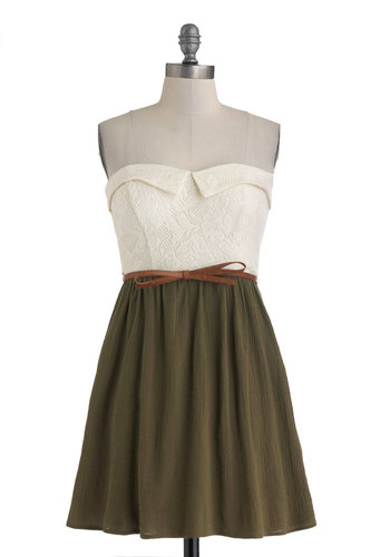 Take a Lichen to It Dress - Cotton, Green, Tan / Cream, Lace, Belted, Casual, Twofer, Strapless, Sweetheart, Solid, Daytime Party, A-line, Summer
