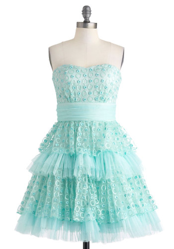 Seafoam and Be Seen Dress - Short, Blue, Solid, Embroidery, Ruffles, Sequins, Tiered, Prom, Party, Fit & Flare, Strapless, Sweetheart, Cocktail, Vintage Inspired, 50s, Spring, Mint