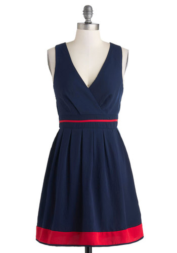 Shoreline Simplicity Dress - Mid-length, Blue, Red, Casual, A-line, Sleeveless, V Neck, Solid, Nautical