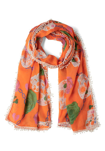 Calaveras de Azúcar Scarf - Cotton, Sheer, Orange, Multi, Print, Trim, Spring