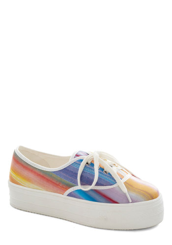 Vibrant Viewpoint Flatform - Multi, White, Print, Vintage Inspired, 90s, Platform, Low, Casual, Lace Up