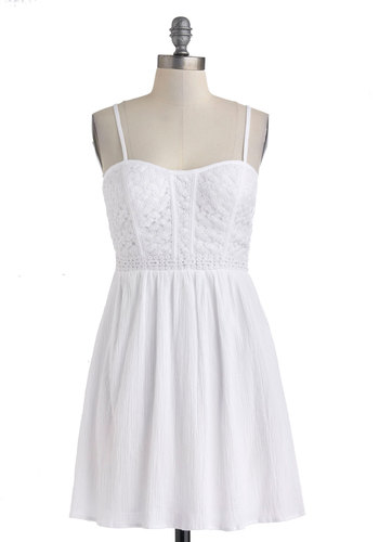 All You Need Is Lovely Dress - White, Solid, Crochet, Casual, A-line, Spaghetti Straps, Sweetheart, Graduation, Summer