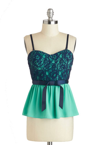 What's Nouveau? Top - Mid-length, Blue, Green, Lace, Party, Girls Night Out, Peplum, Spaghetti Straps, Summer