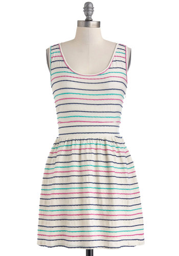 Stripe of Good Luck Dress by Tulle Clothing - Cream, Green, Blue, Pink, Stripes, Casual, A-line, Tank top (2 thick straps), Spring, Bows, Cutout, Scoop, Travel, Mid-length
