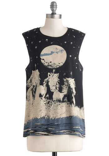 Under the Night Sky Top by Mink Pink - Black, Grey, Casual, Fairytale, Urban, Mid-length, Blue, Print with Animals, Tank top (2 thick straps), 90s, Black, Sleeveless