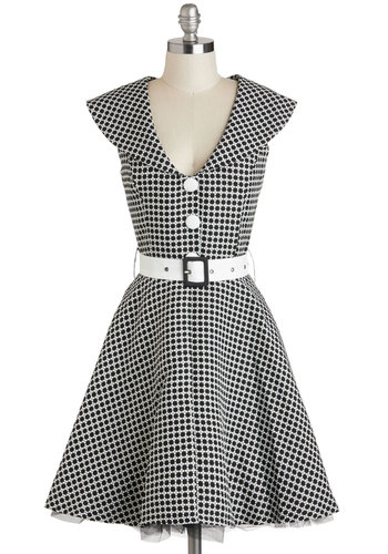 Dine and Dandy Dress - Black, White, Checkered / Gingham, Buttons, Belted, Party, Fit & Flare, Cap Sleeves, V Neck, Rockabilly, Vintage Inspired, Mid-length, 60s