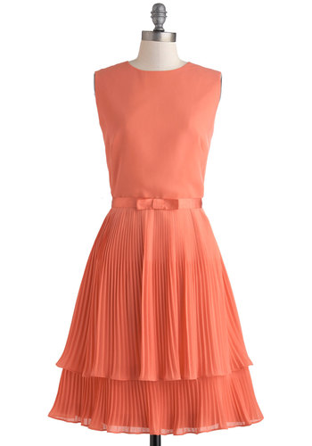 Grapefruit Sangria Dress by Louche - Vintage Inspired, 60s, Coral, Solid, Bows, Pleats, Wedding, Cocktail, Bridesmaid, A-line, Sleeveless, Boat, Exposed zipper, Mid-length