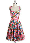 Garden Home Tour Dress by Louche - Floral, Daytime Party, A-line, Spaghetti Straps, Racerback, Sweetheart, Vintage Inspired, 50s, Spring, Mid-length, Cotton, Pink, White, Blue, Green, Red, Multi