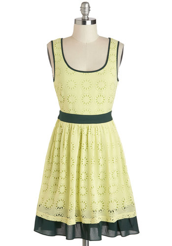 Lock and Key Lime Dress - Yellow, Blue, Floral, Eyelet, Casual, A-line, Tank top (2 thick straps), Scoop, Spring, Mid-length