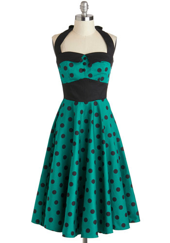 Budding Starlet Dress in Emerald - Green, Black, Polka Dots, Buttons, A-line, Halter, Sweetheart, Party, Daytime Party, Rockabilly, Vintage Inspired, 50s, Long, Cotton, 60s