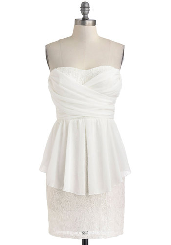 Dancing Beneath the Petals Dress - Short, White, Solid, Lace, Party, Peplum, Strapless, Sweetheart, Tiered, Ruching, Girls Night Out, Bodycon / Bandage, Summer