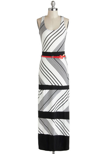Easygoing Edge Dress - Long, Black, Stripes, Belted, Casual, Maxi, Racerback, Scoop, Summer, White