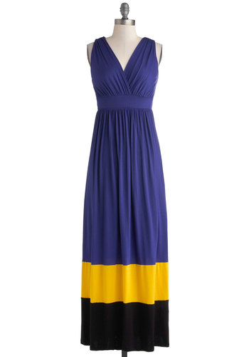 Sarah's Usher in the Fun Dress - Long, Purple, Yellow, Black, Ruching, Casual, Maxi, Sleeveless, V Neck, Solid, Beach/Resort, Colorblocking, Jersey, Basic, Gifts Sale, Press Placement