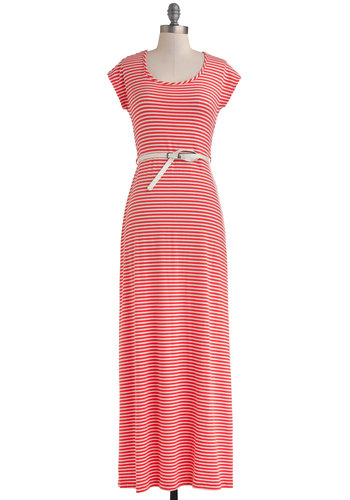 Pier Picnic Dress - Long, White, Coral, Stripes, Cutout, Belted, Ruching, Casual, Maxi, Cap Sleeves, Scoop, Beach/Resort, Nautical, Summer