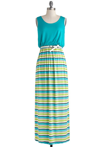 To and Flowing Dress - Long, Blue, Green, Black, Grey, White, Stripes, Belted, Casual, Maxi, Tank top (2 thick straps), Scoop, Beach/Resort, Twofer, Summer