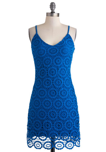 Sand Dollar Daydreams Dress by Jack by BB Dakota - Mid-length, Blue, Solid, Crochet, Shift, Spaghetti Straps, V Neck, Party, Girls Night Out, Boho, Summer