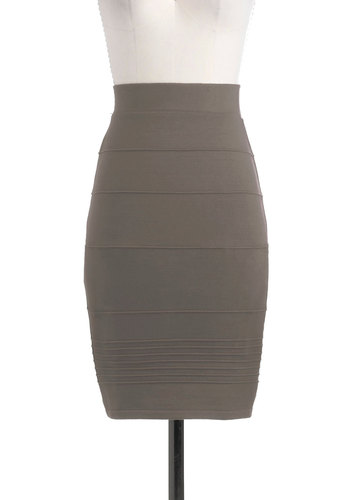 Promptness is Posh Skirt in Dusk - Mid-length, Solid, Work, Pencil, Grey, Variation