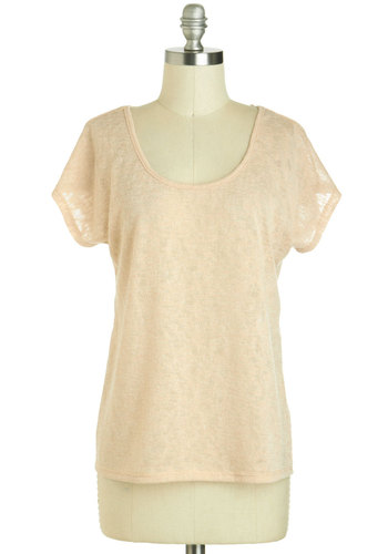 Fresh Nectar Top - Sheer, Orange, Casual, Short Sleeves, Solid, Braided, Pastel, Minimal, Scoop, Mid-length, Summer, Travel