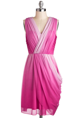 Twilight Gathering Dress in Pink - Pink, Ruching, Party, Sleeveless, Spring, V Neck, Prom, Wedding, Luxe, Mid-length, Bridesmaid, Ombre