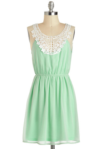 Pergola Di Da Dress - Sheer, Mid-length, Mint, White, Solid, Crochet, Casual, A-line, Sleeveless, Fairytale, Summer, Sundress, Pastel