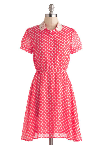 Supper Powers Dress - Mid-length, White, Polka Dots, Crochet, Pearls, Peter Pan Collar, Casual, A-line, Short Sleeves, Collared, Vintage Inspired, 30s, Pink
