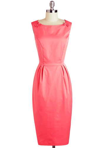 Round of Applause Dress by Bettie Page - Long, Pink, Solid, Bows, Daytime Party, Sheath / Shift, Sleeveless, Spring, Pinup, Vintage Inspired, 50s, Work