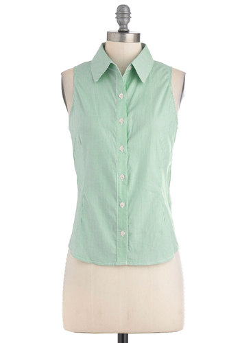 Tomato Tomatillo Top - Green, White, Stripes, Buttons, Casual, Sleeveless, Mid-length, Vintage Inspired, Summer