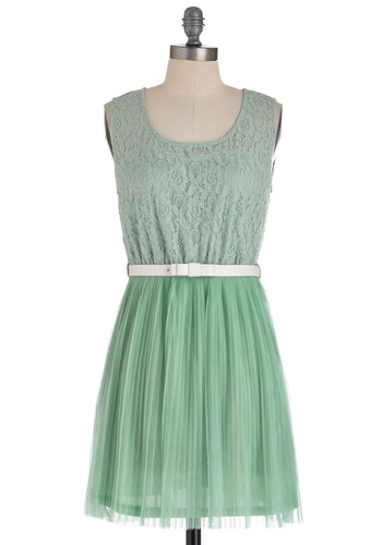 Peppermint Frosting Dress - Short, Lace, Pleats, Sleeveless, Pastel, Belted, Sheer, Mint, Casual, Graduation, Wedding, Bridesmaid