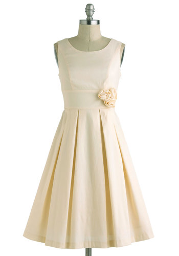 A Lighter Shade of Peach Dress - Cream, Solid, Flower, Pleats, Special Occasion, Wedding, Vintage Inspired, 50s, Sleeveless, Spring, Fit & Flare, Long, Graduation, Prom, Bridesmaid, Bride