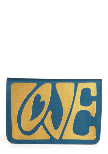 Got a Lot of Love Clutch - Blue, Yellow, Solid, Party, Vintage Inspired, 60s, Mod