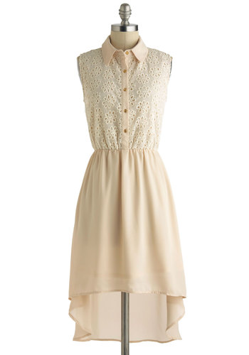 Sincerely, Kinsey Dress - Tan, Solid, Casual, A-line, Sleeveless, Collared, High-Low Hem, Chiffon, Short, Tan / Cream, Buttons, Eyelet, Daytime Party