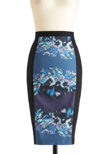 Unique Beauty Skirt - Blue, Purple, Black, Floral, Exposed zipper, Party, Vintage Inspired, Statement, Long