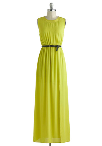 Annie's Stylish to the Maxi-mum Dress - Long, Sheer, Yellow, Solid, Cutout, Belted, Casual, Empire, Maxi, Sleeveless, Scoop, Beach/Resort