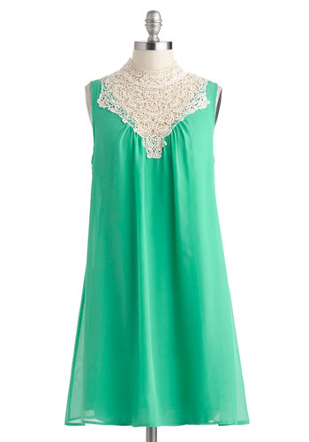 Jubilant in Jade Dress - Green, Tan / Cream, Solid, Crochet, Party, Tent / Trapeze, Sleeveless, Boho, Vintage Inspired, Mid-length