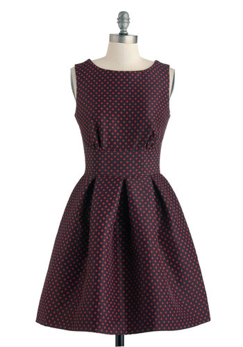 Ain't We Haute Fun? Dress in Dots - Mid-length, Red, Blue, Polka Dots, Cutout, Exposed zipper, Party, Fit & Flare, Sleeveless, Boat, Vintage Inspired, 60s, Variation, Top Rated