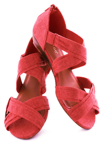 Fresh Pick Wedge in Watermelon - Pink, Pleats, Low, Wedge, Solid, Casual, Spring, Summer, Strappy, Variation