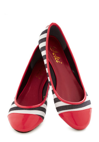 A Class Act Flat - Red, Black, White, Stripes, Nautical, Flat, Casual, French / Victorian