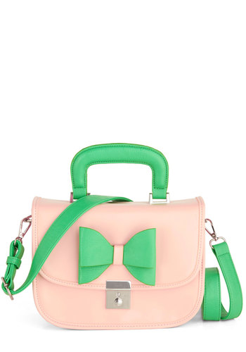 Azalea Regalia Bag by Melie Bianco - Green, Solid, Bows, Colorblocking, Faux Leather, Pink