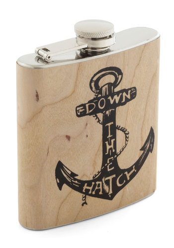 Spirited Cheers Flask - Tan, Silver, Nautical, Good, Press Placement, Guys, Summer