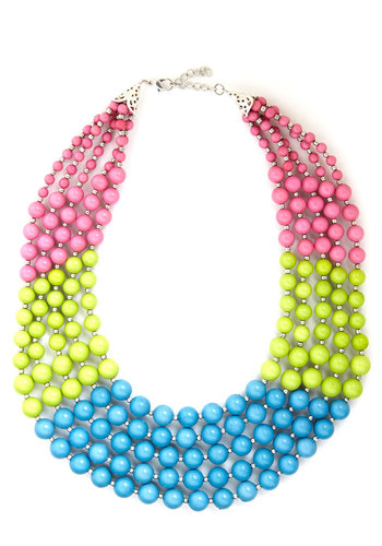 Bead Keeper Necklace in Tropical - Yellow, Blue, Pink, Solid, Beads, Tiered, Statement, Colorblocking, Summer