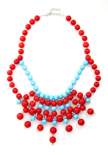 Bijou Said It Necklace - Red, Blue, Solid, Beads, Cutout, Statement