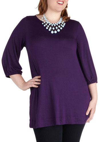 Comfortably Plum Top in Plus Size - Purple, Solid, Work, Casual, Long Sleeve, Minimal, Exclusives