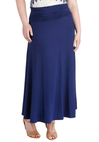 One Sway Or Another Skirt in Blue - Plus Size - Jersey, Blue, Solid, Maxi, Casual, Minimal, Summer, Travel, Exclusives